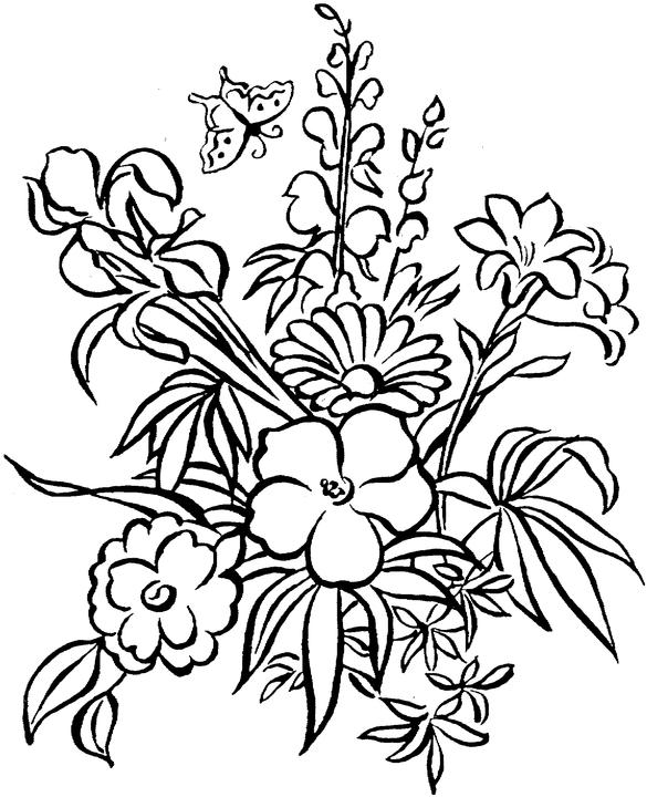 Floral coloring #19, Download drawings