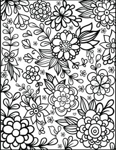 Floral coloring #14, Download drawings