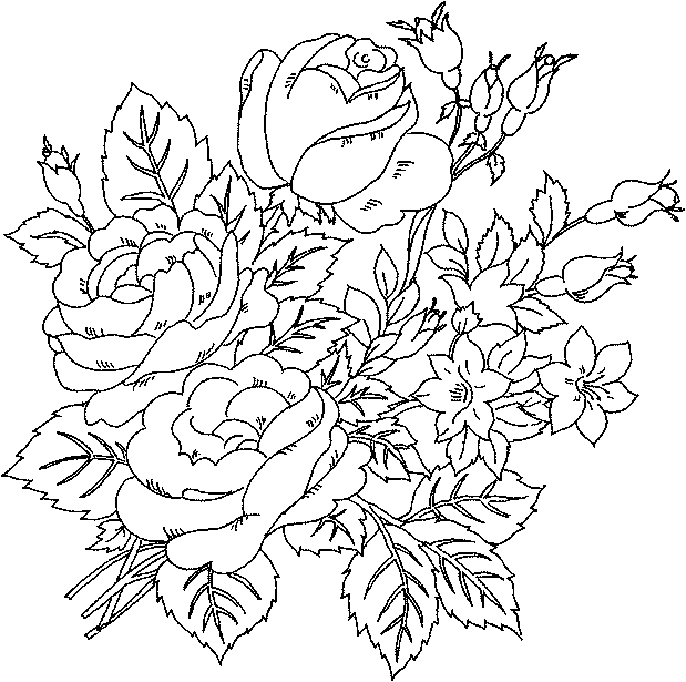 Floral coloring #16, Download drawings