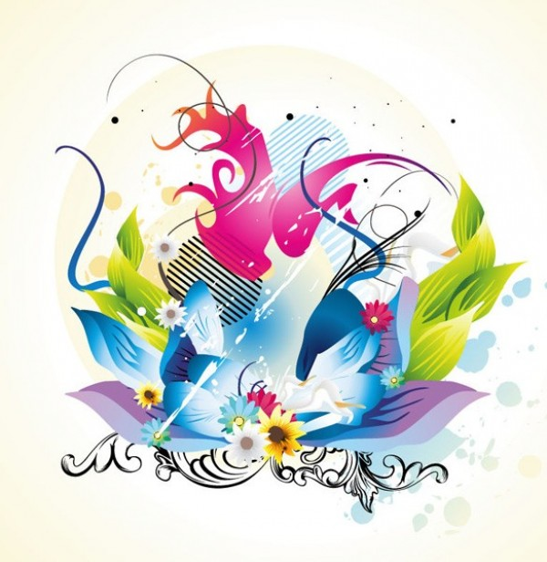 Floral Vector coloring #18, Download drawings