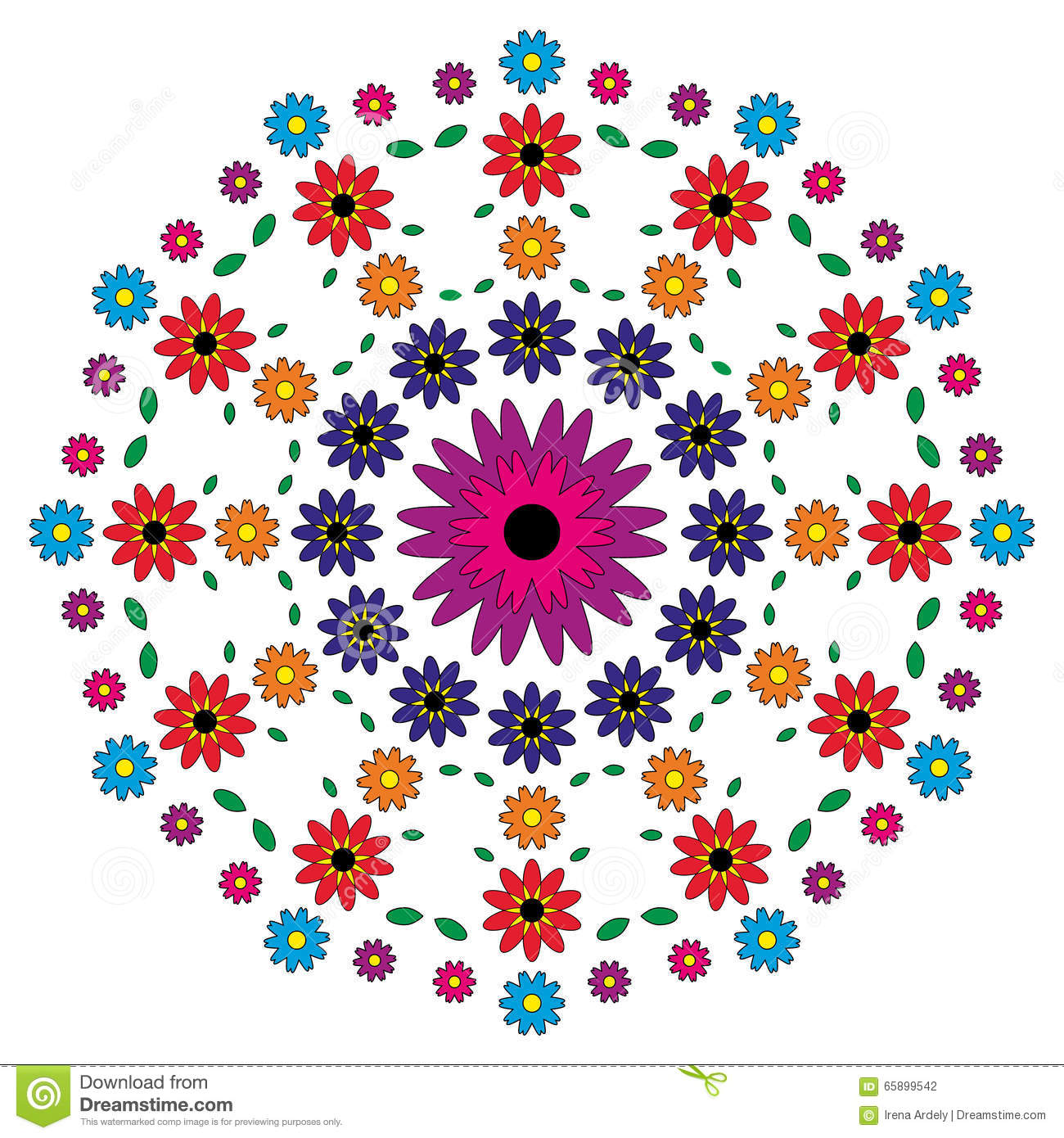 Floral Vector coloring #14, Download drawings