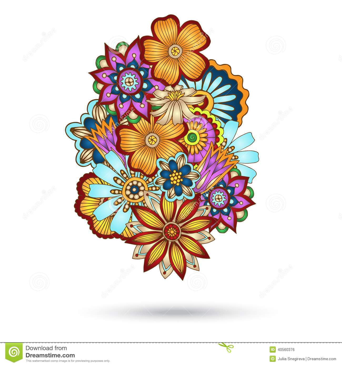 Floral Vector coloring #9, Download drawings