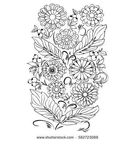 Floral Vector coloring #2, Download drawings