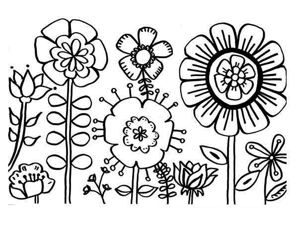 Flower coloring #4, Download drawings
