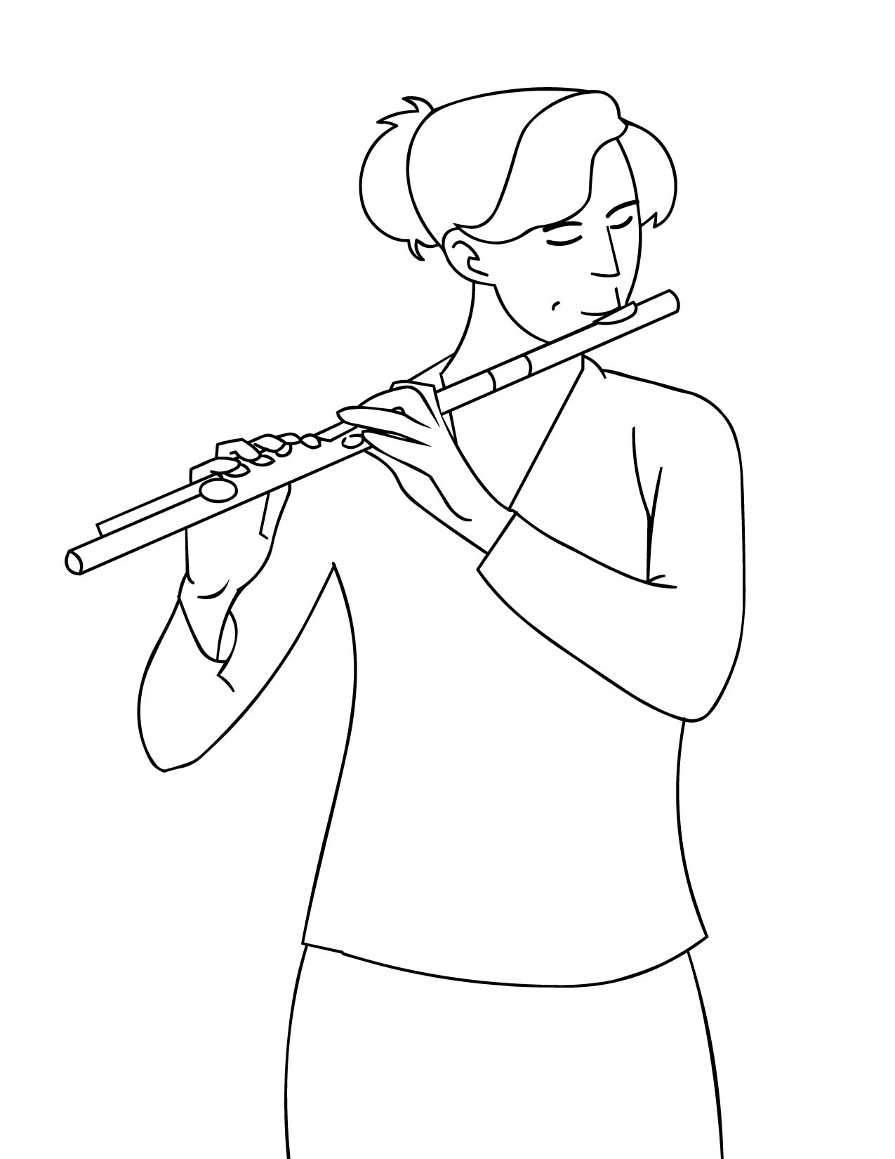 Flute coloring #3, Download drawings