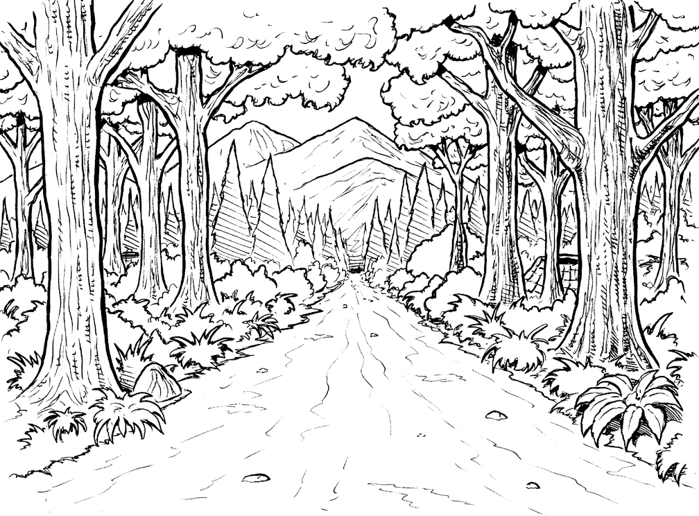 Forest coloring #10, Download drawings