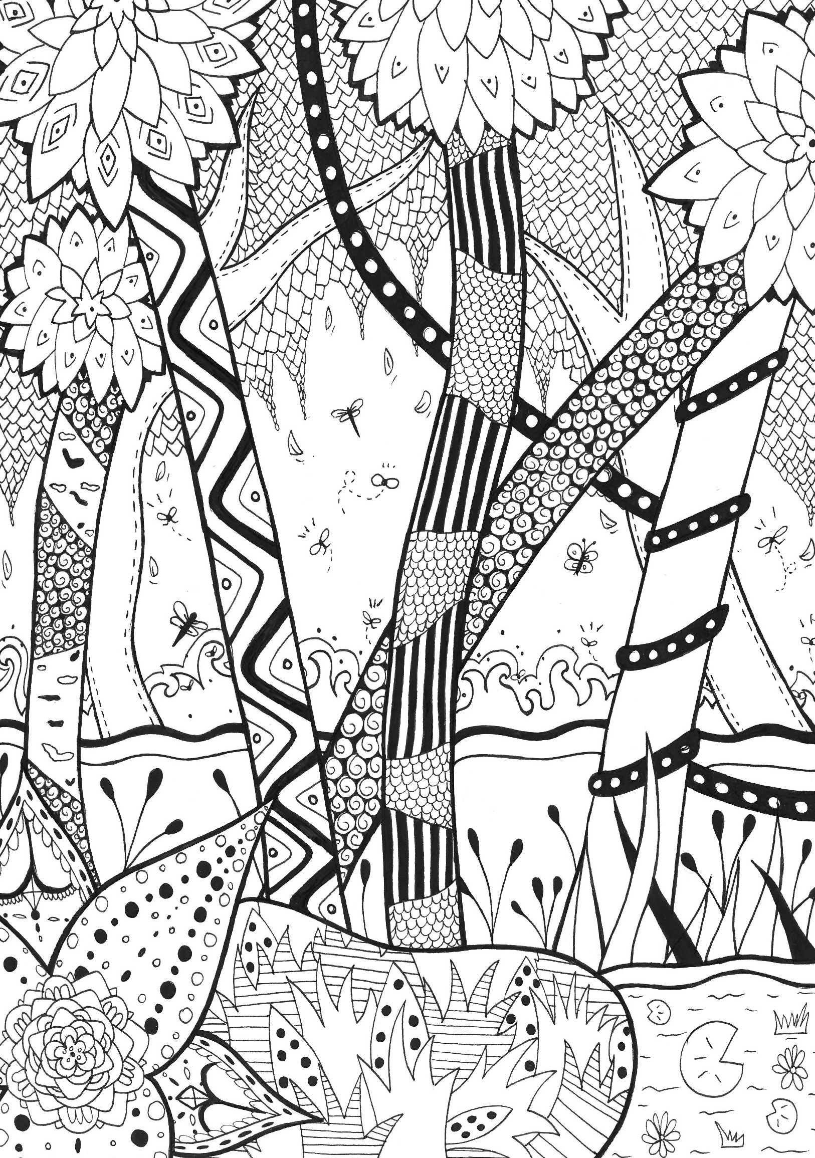 Forest coloring #9, Download drawings