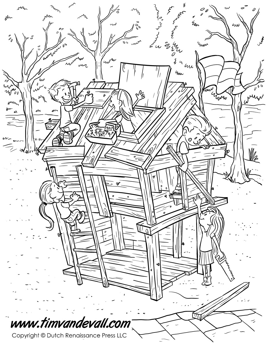 Fort Building coloring #5, Download drawings
