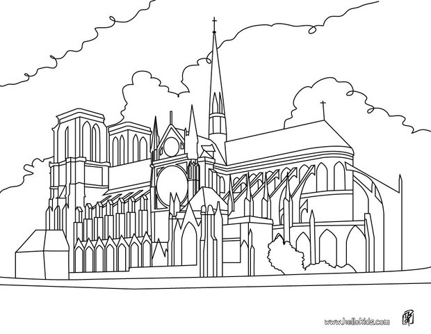Cathedral coloring #20, Download drawings