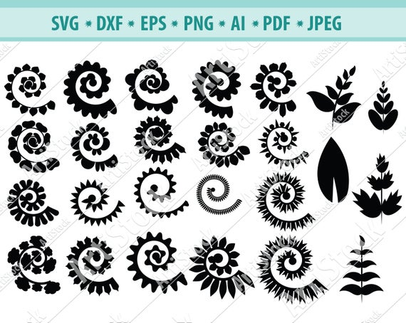 free rolled flower svg #772, Download drawings