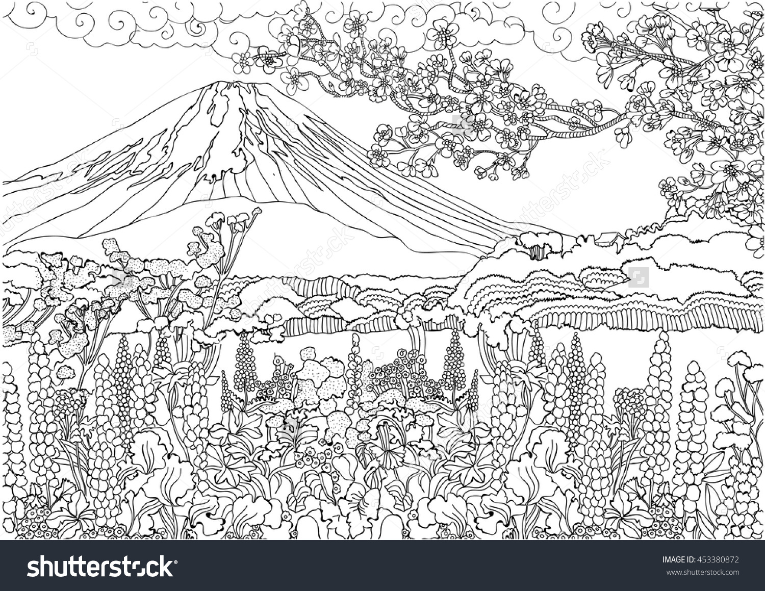 free mountain landscape coloring pages - photo#9