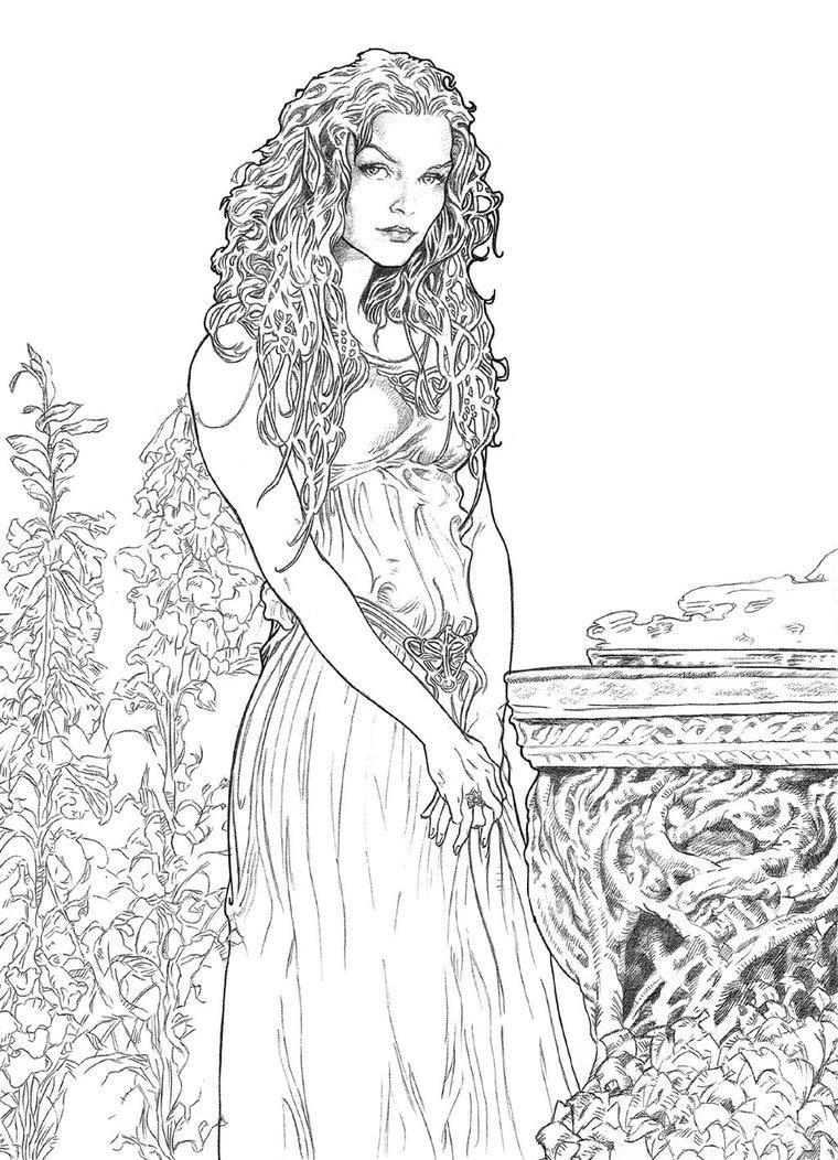 Galadriel coloring #2, Download drawings
