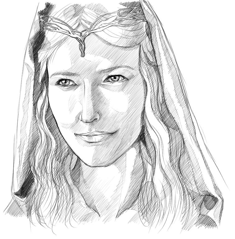 Galadriel coloring #15, Download drawings