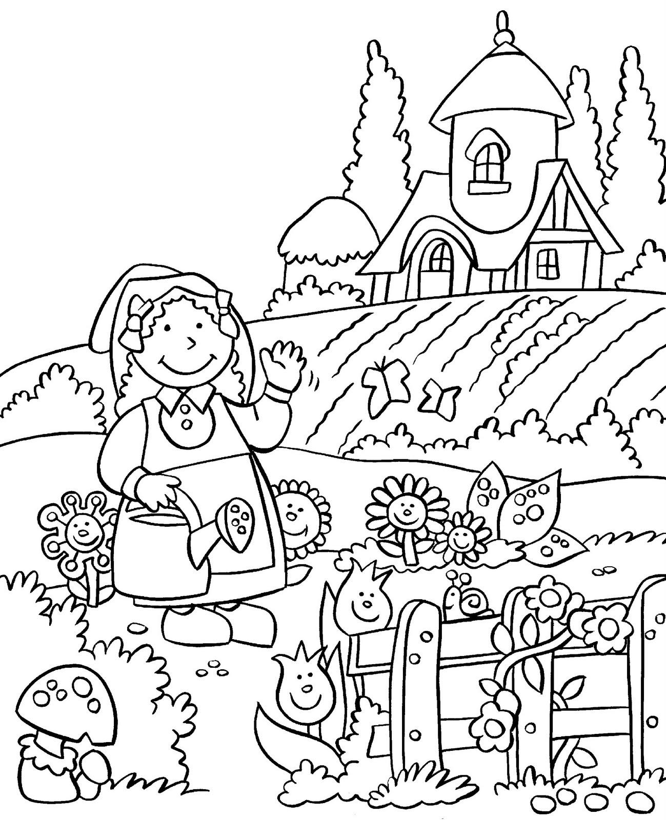 Garden coloring #2, Download drawings