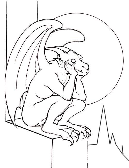 Gargoyle coloring #4, Download drawings