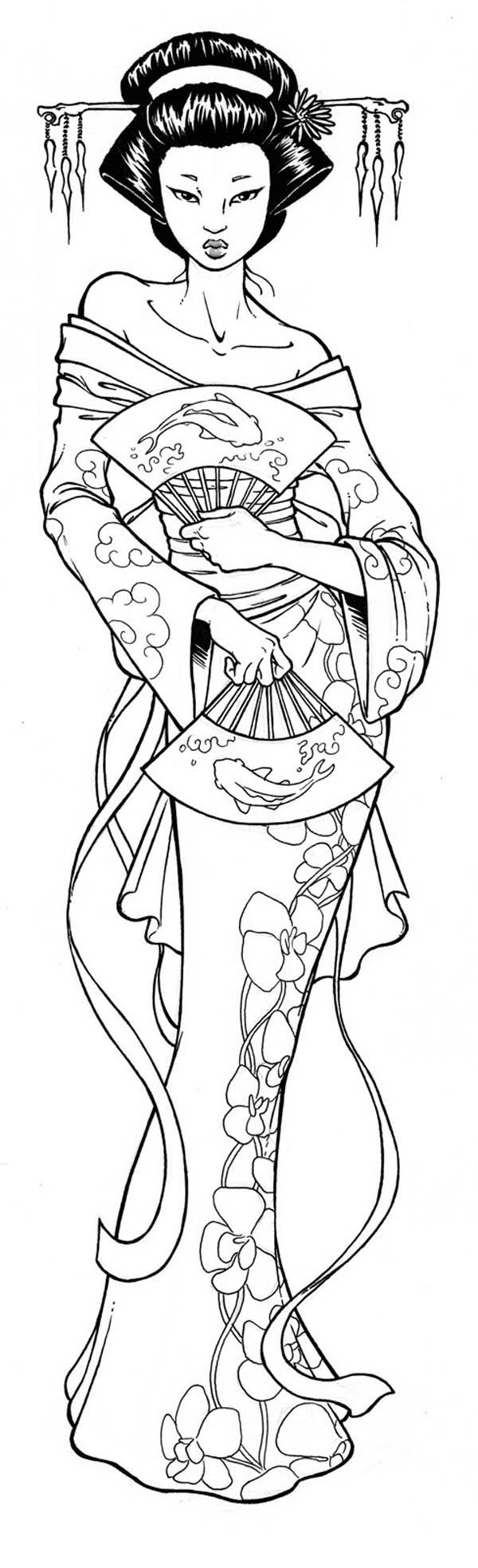 Geisha coloring #15, Download drawings