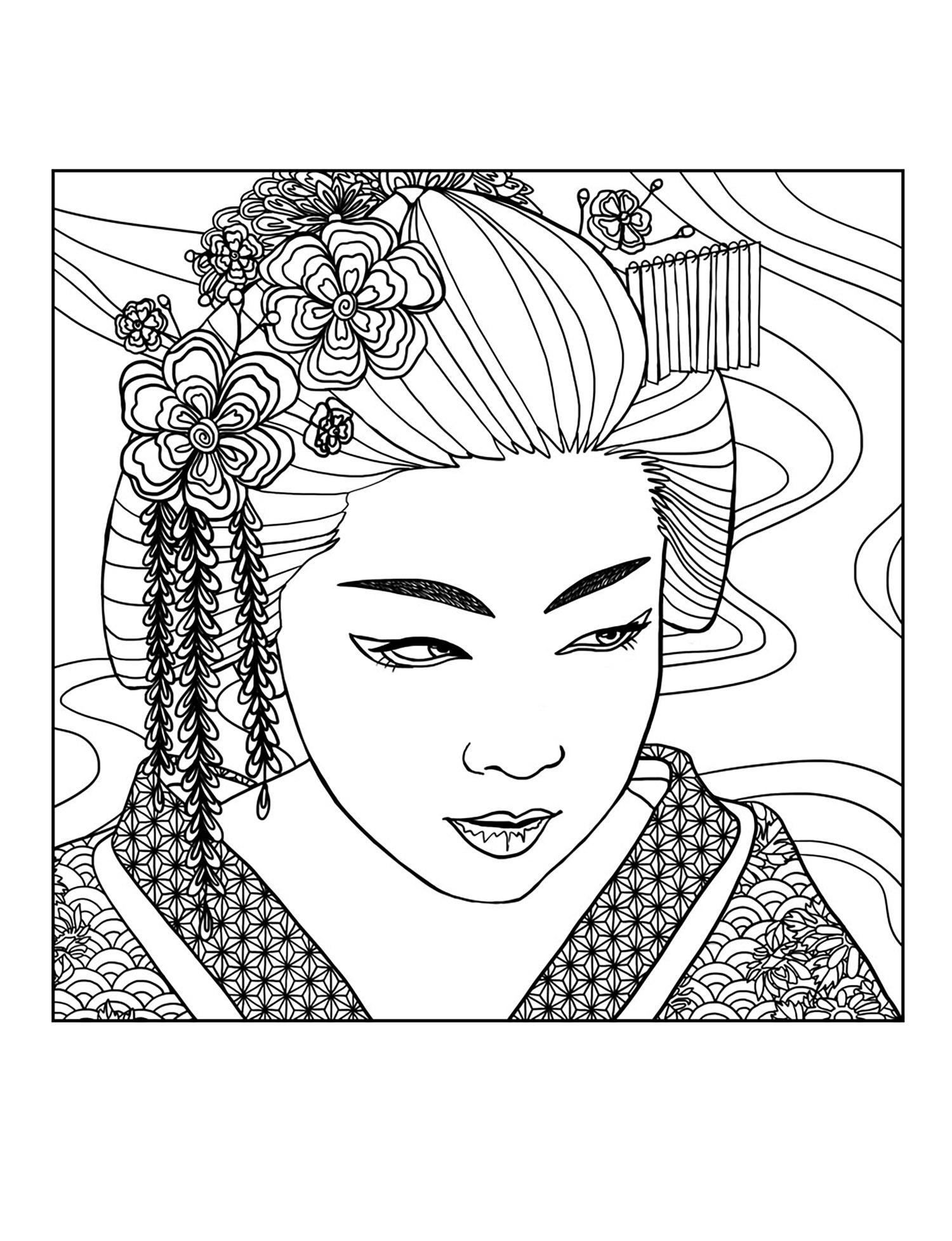 Geisha coloring #7, Download drawings