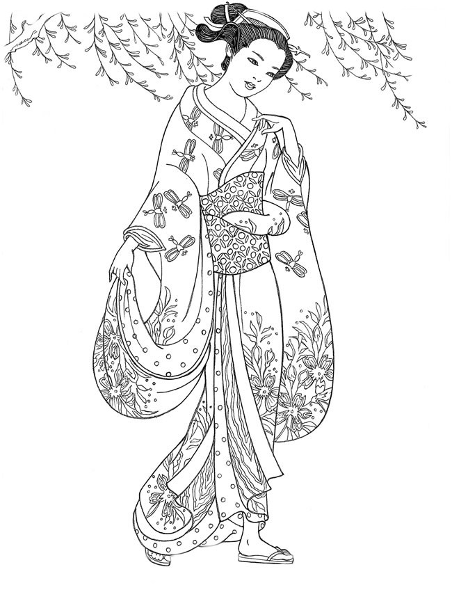 Geisha coloring #3, Download drawings