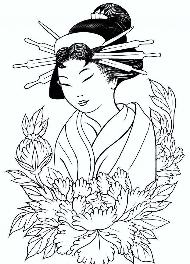 Geisha coloring #17, Download drawings