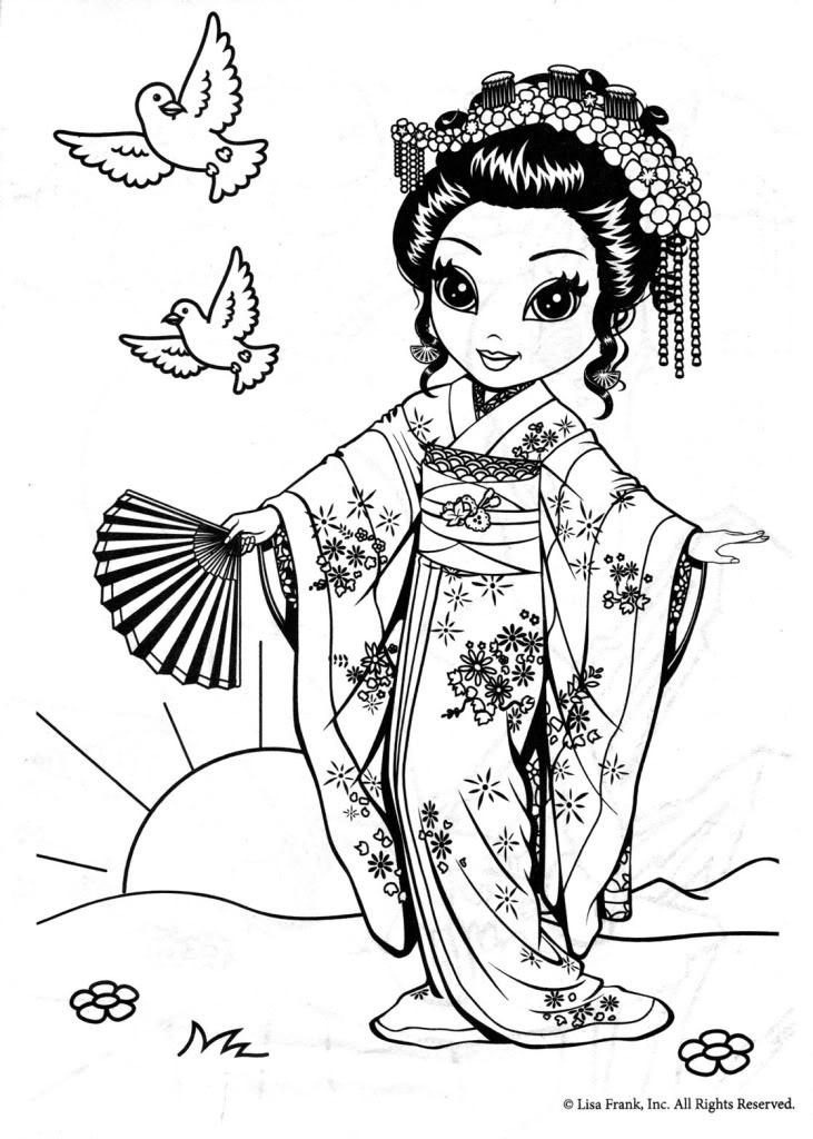 Geisha coloring #5, Download drawings