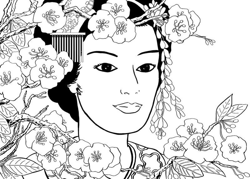 Geisha coloring #19, Download drawings