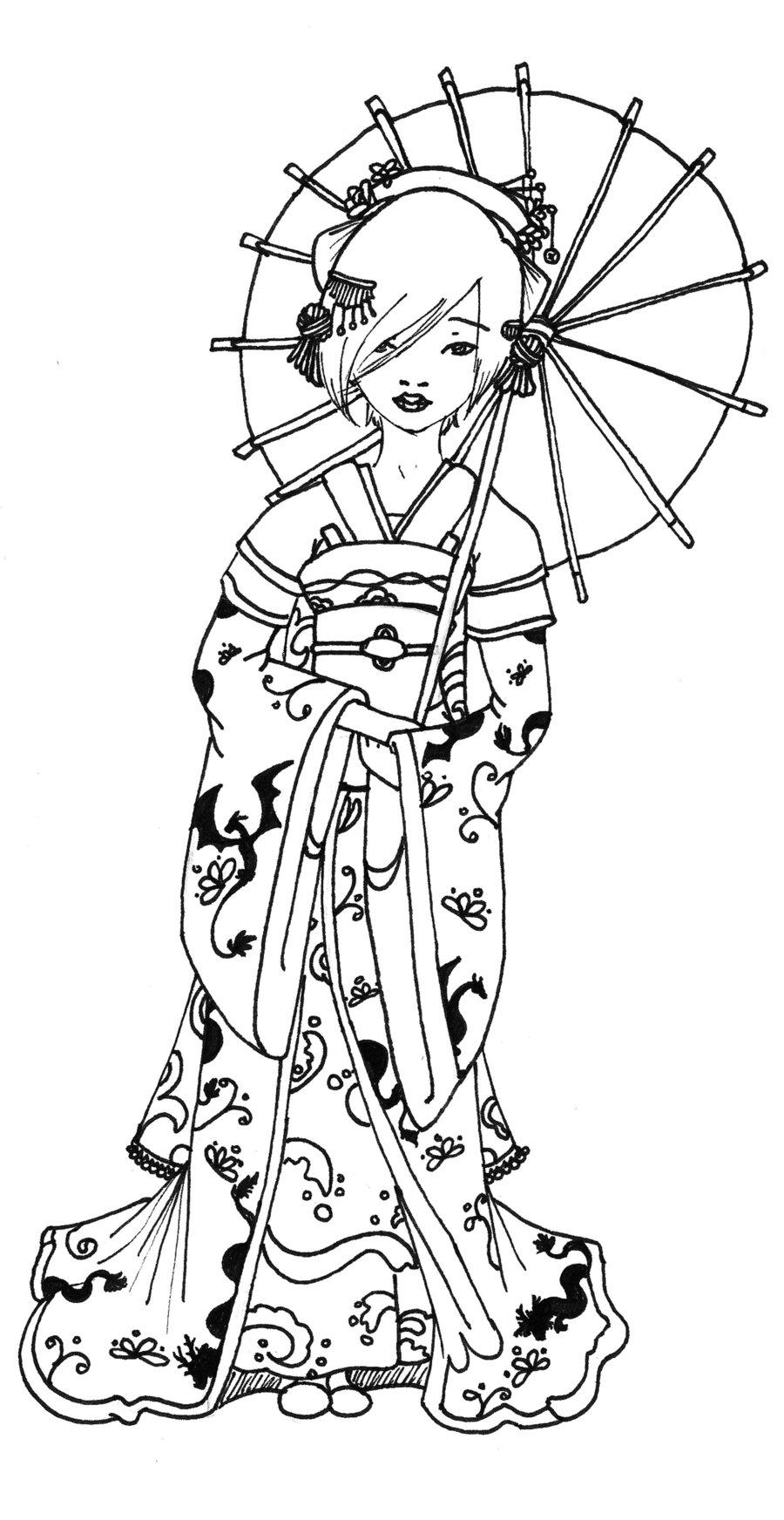 Geisha coloring #16, Download drawings