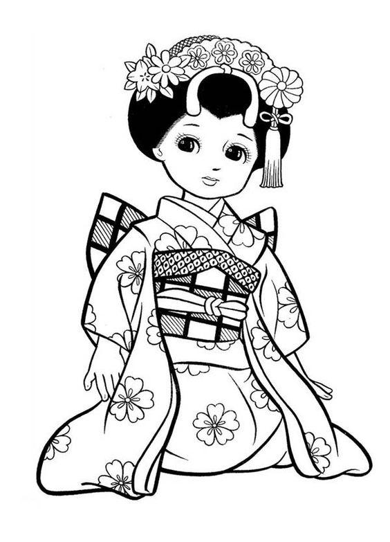 Geisha coloring #18, Download drawings
