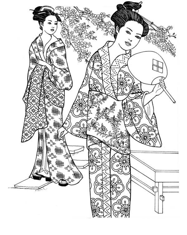 Geisha coloring #1, Download drawings