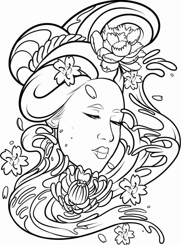 Geisha coloring #4, Download drawings