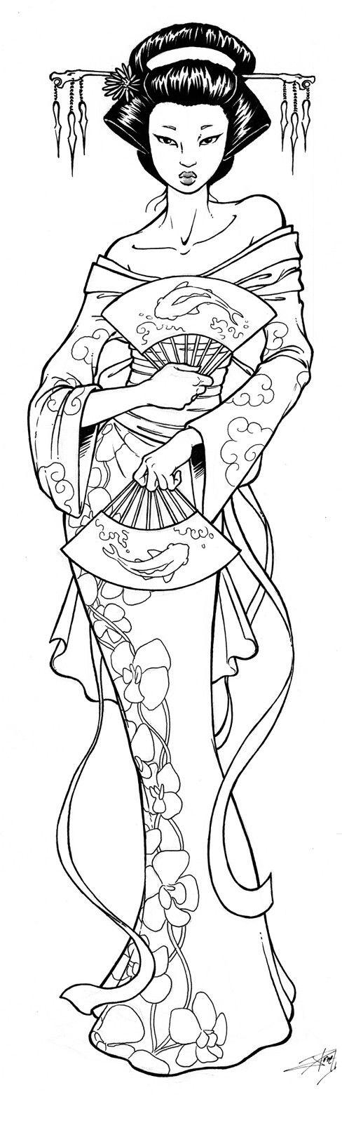 Geisha coloring #8, Download drawings