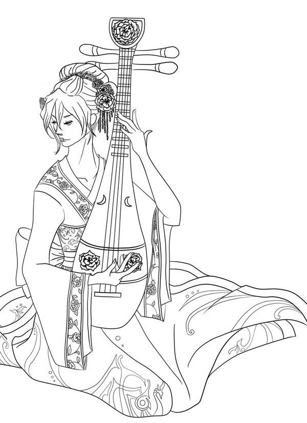 Geisha coloring #12, Download drawings