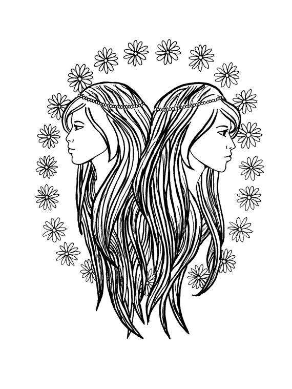 Gemini (Astrology) coloring #13, Download drawings