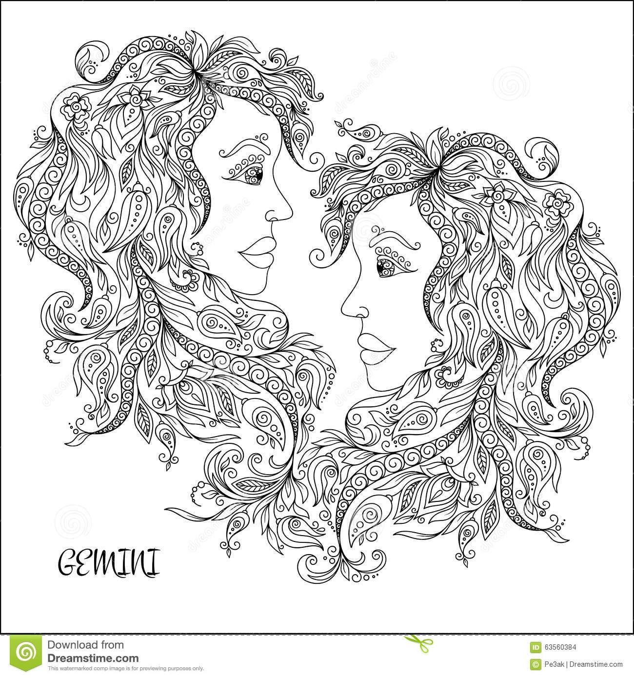 Gemini (Astrology) coloring #20, Download drawings