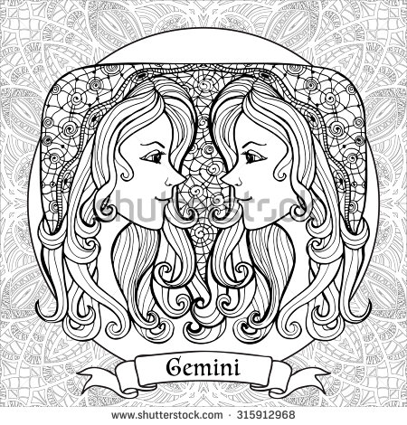 Gemini (Astrology) coloring #7, Download drawings