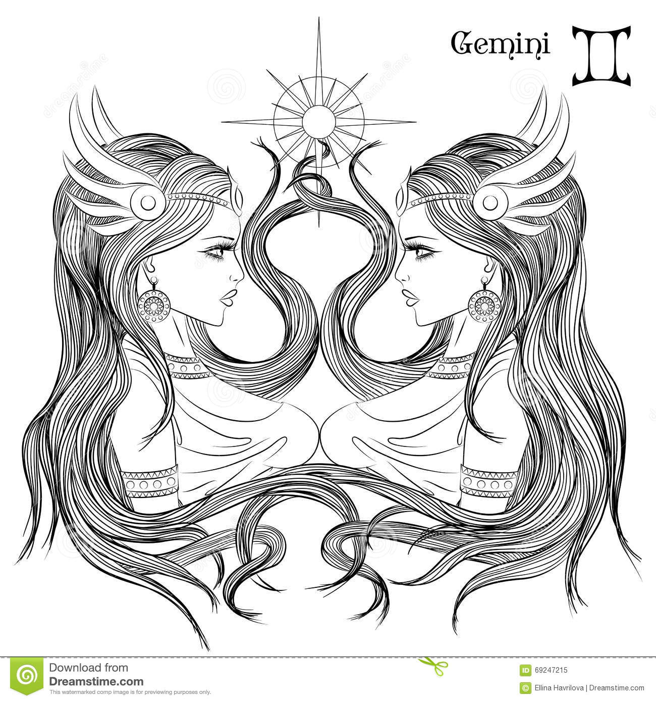 Gemini (Astrology) coloring #2, Download drawings