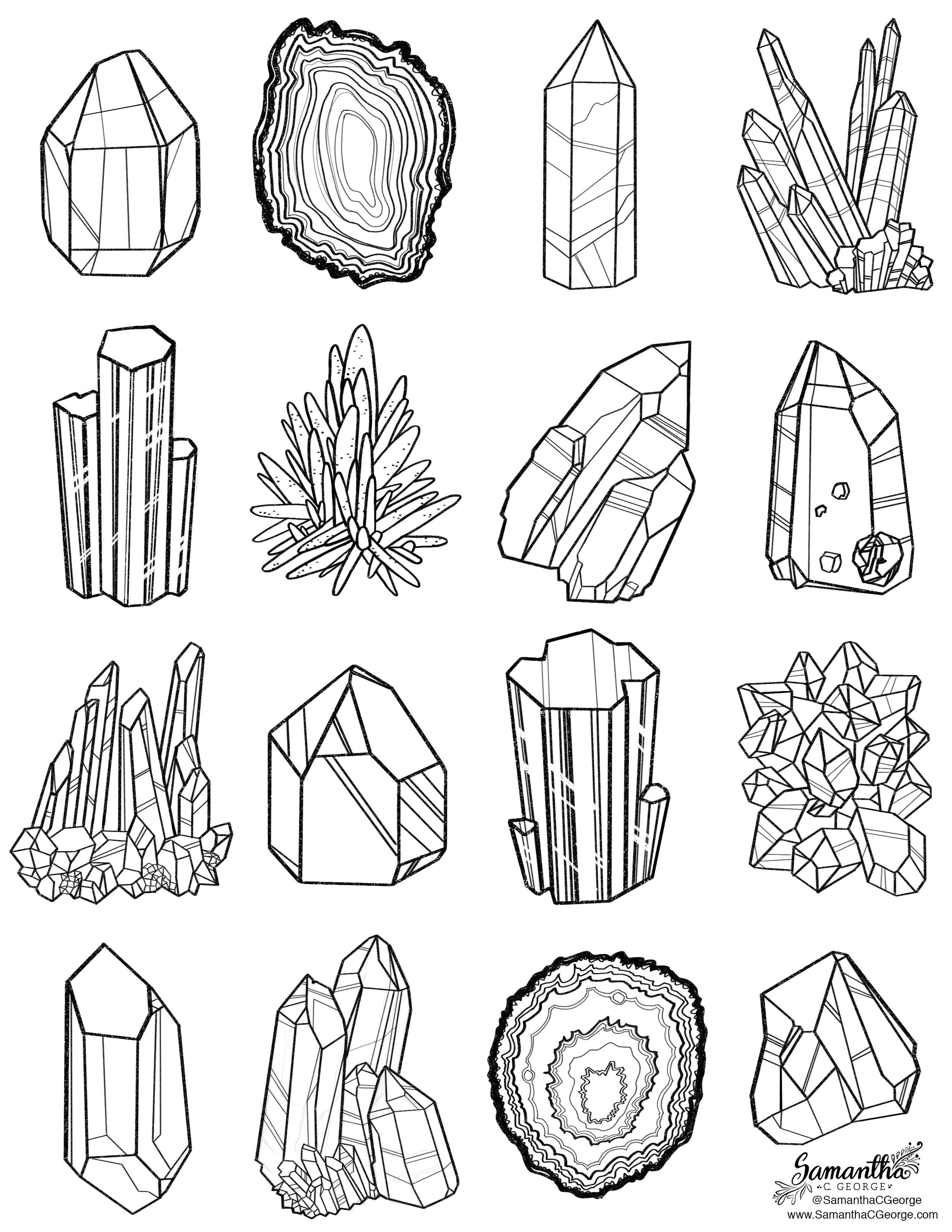 Gems coloring #1, Download drawings