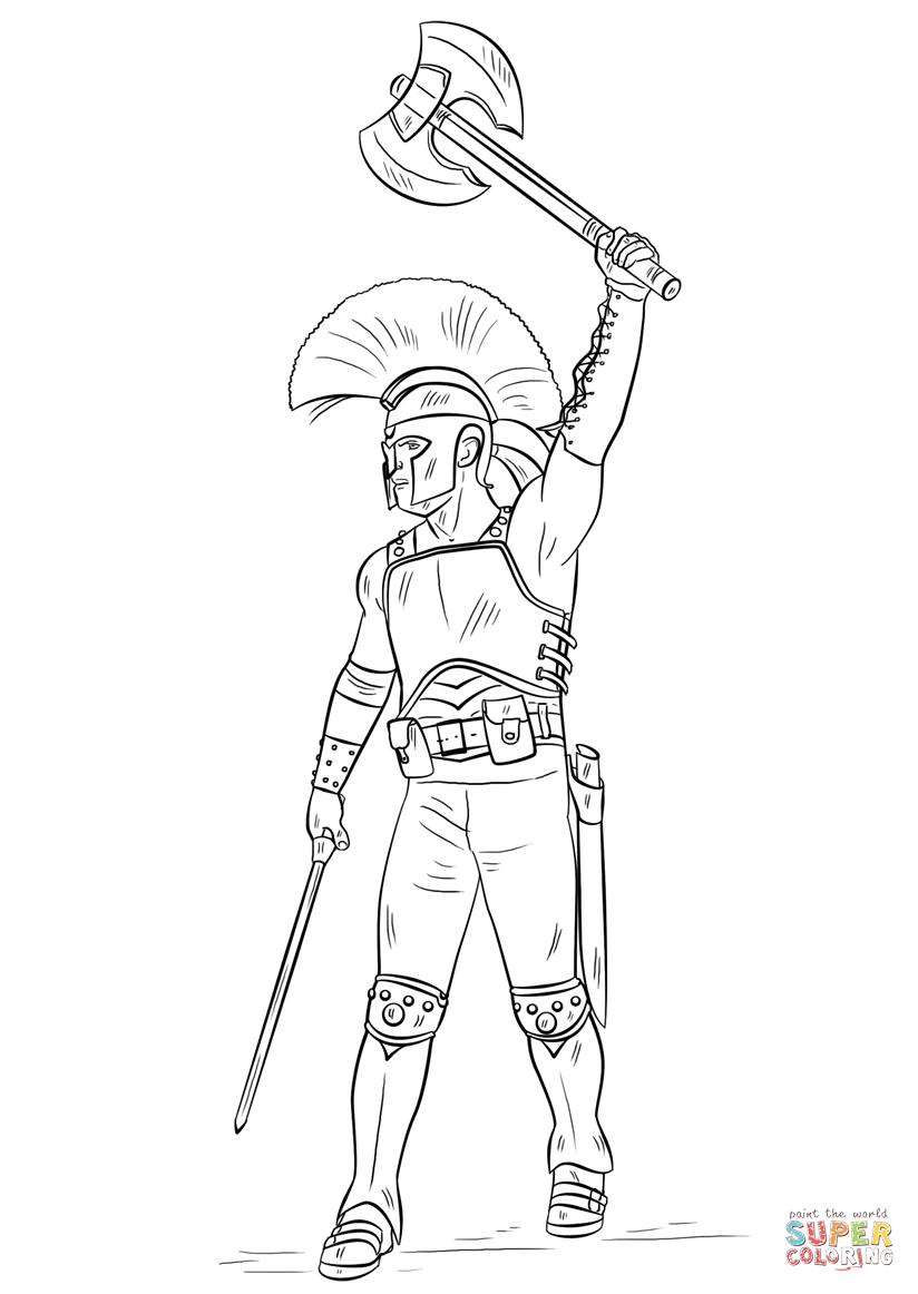Gladiator coloring #19, Download drawings