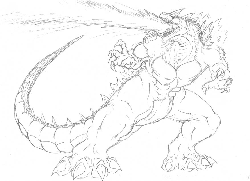Godzilla coloring #2, Download drawings