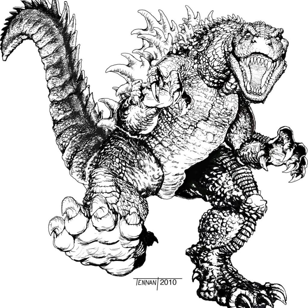 Godzilla coloring #1, Download drawings