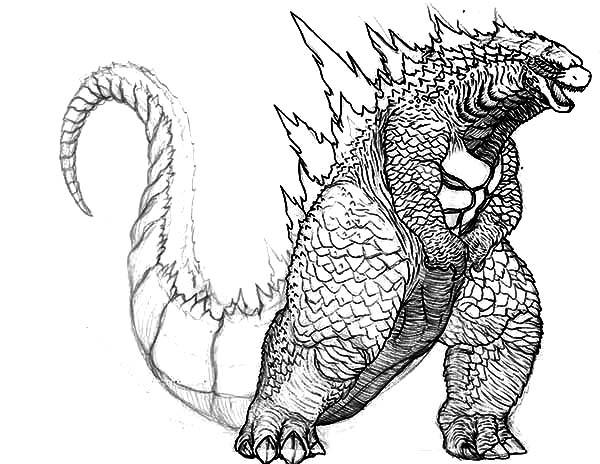 Godzilla coloring #5, Download drawings