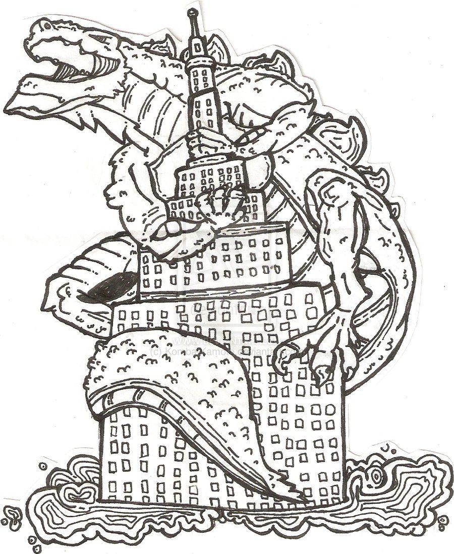 Godzilla coloring #4, Download drawings