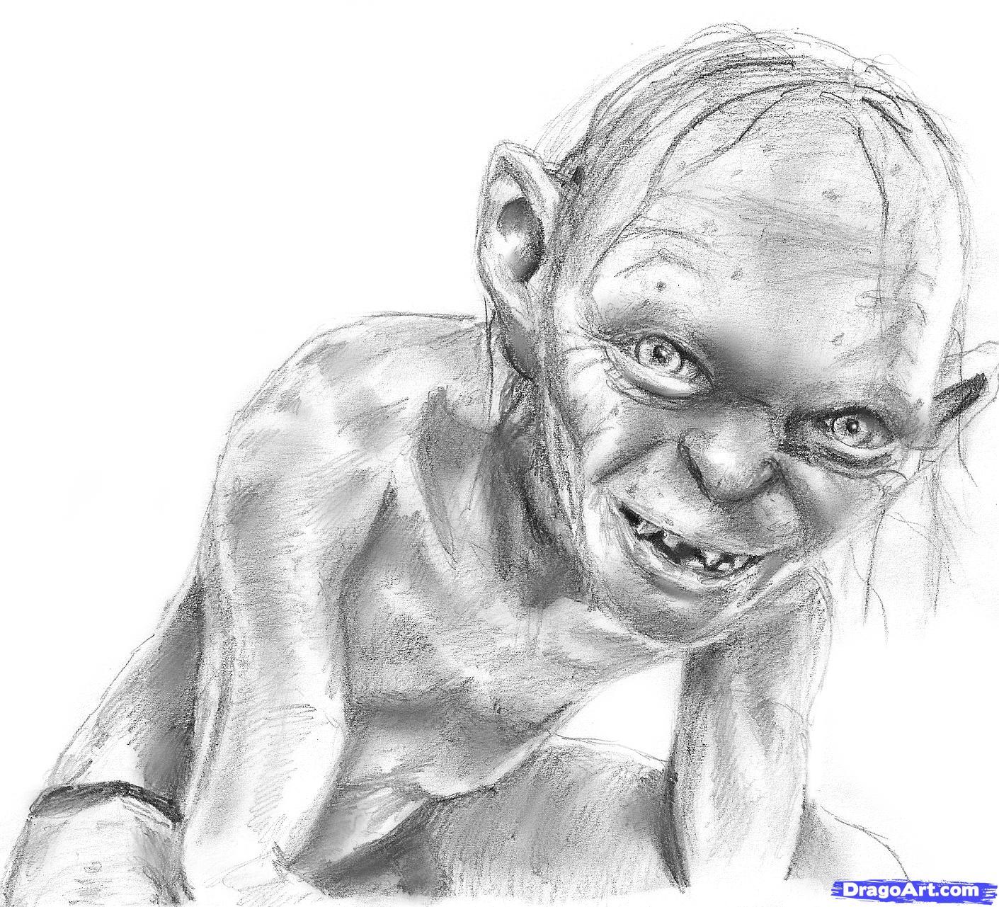 Gollum coloring #11, Download drawings