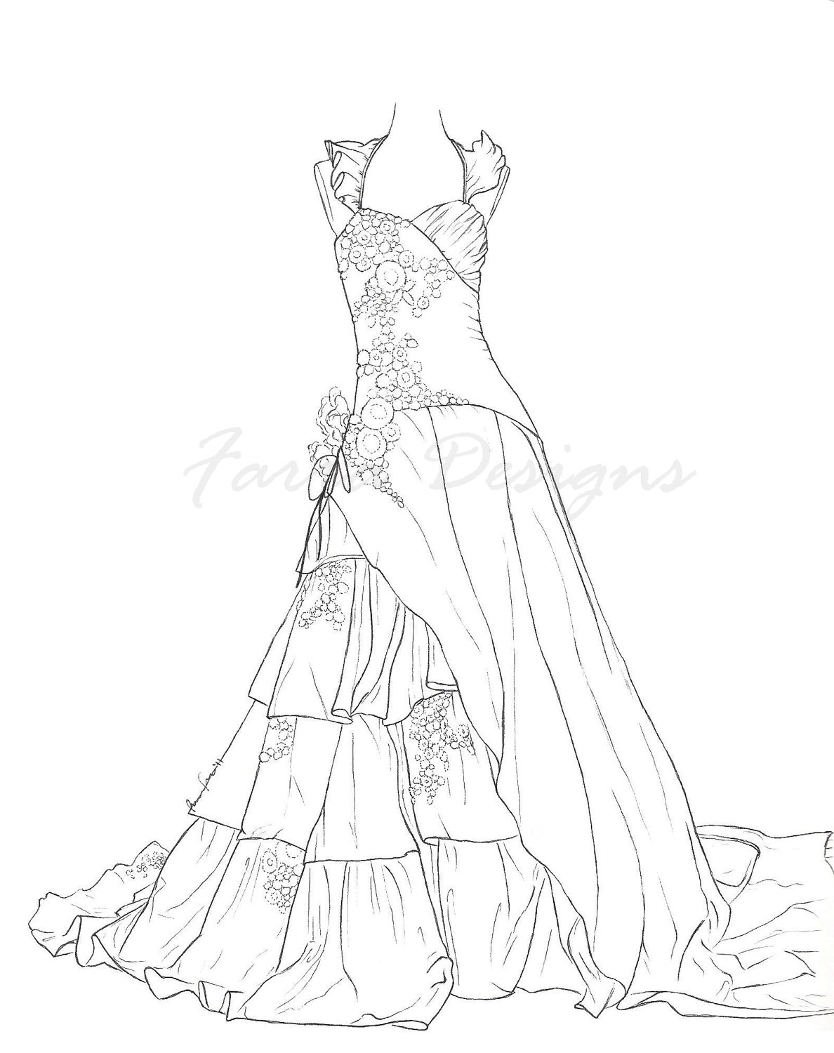 Gown coloring #10, Download drawings