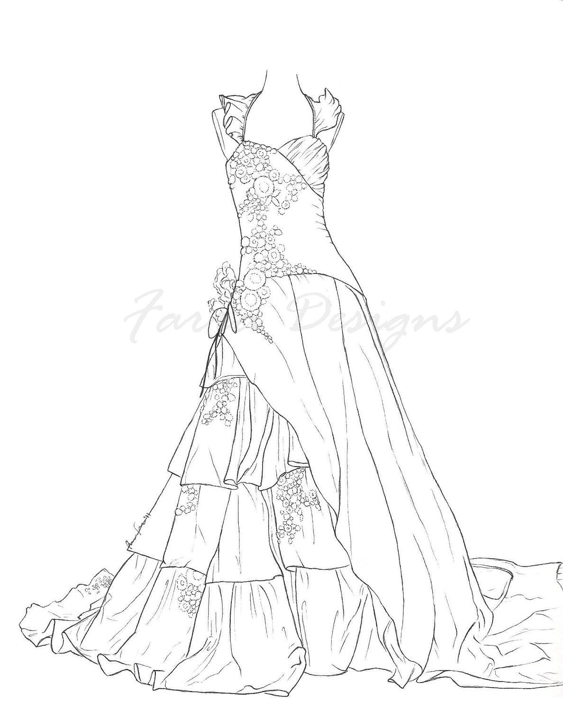Wedding Dress coloring #15, Download drawings