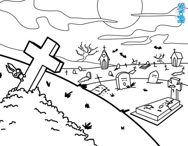 Graveyard coloring #11, Download drawings