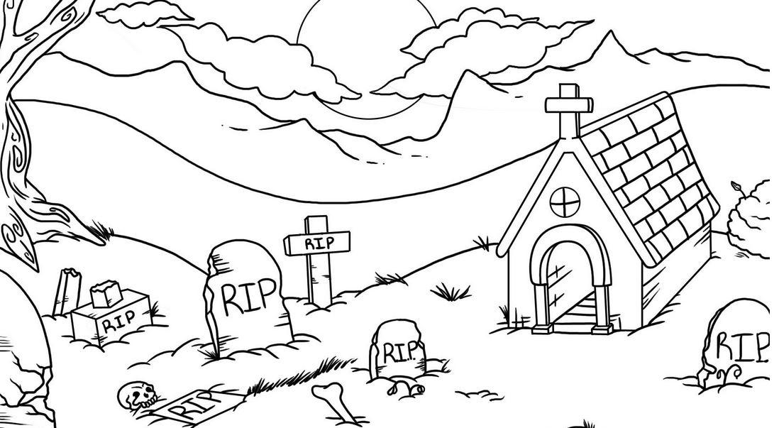 Graveyard coloring #12, Download drawings