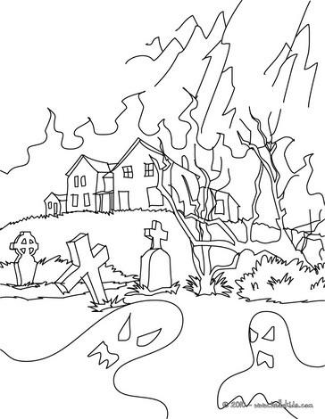Graveyard coloring #4, Download drawings