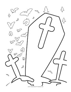 Graveyard coloring #1, Download drawings