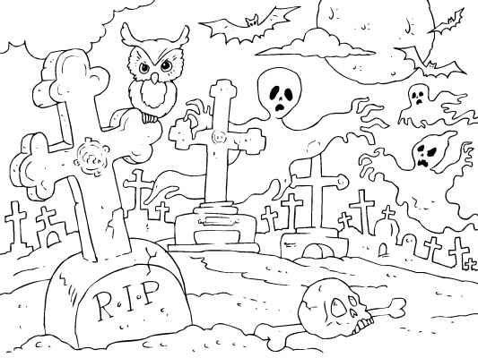 Graveyard coloring #18, Download drawings