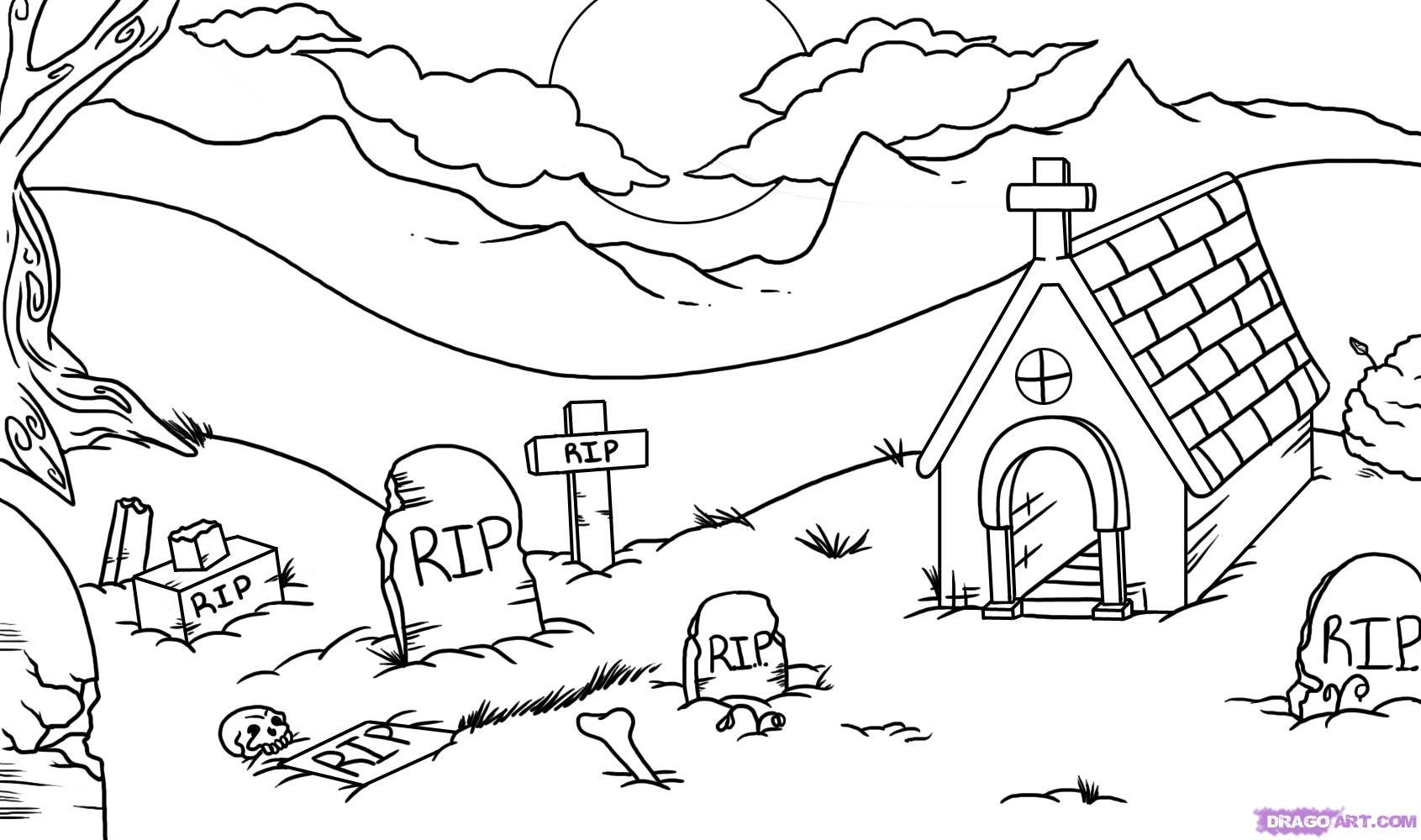 Graveyard coloring #8, Download drawings